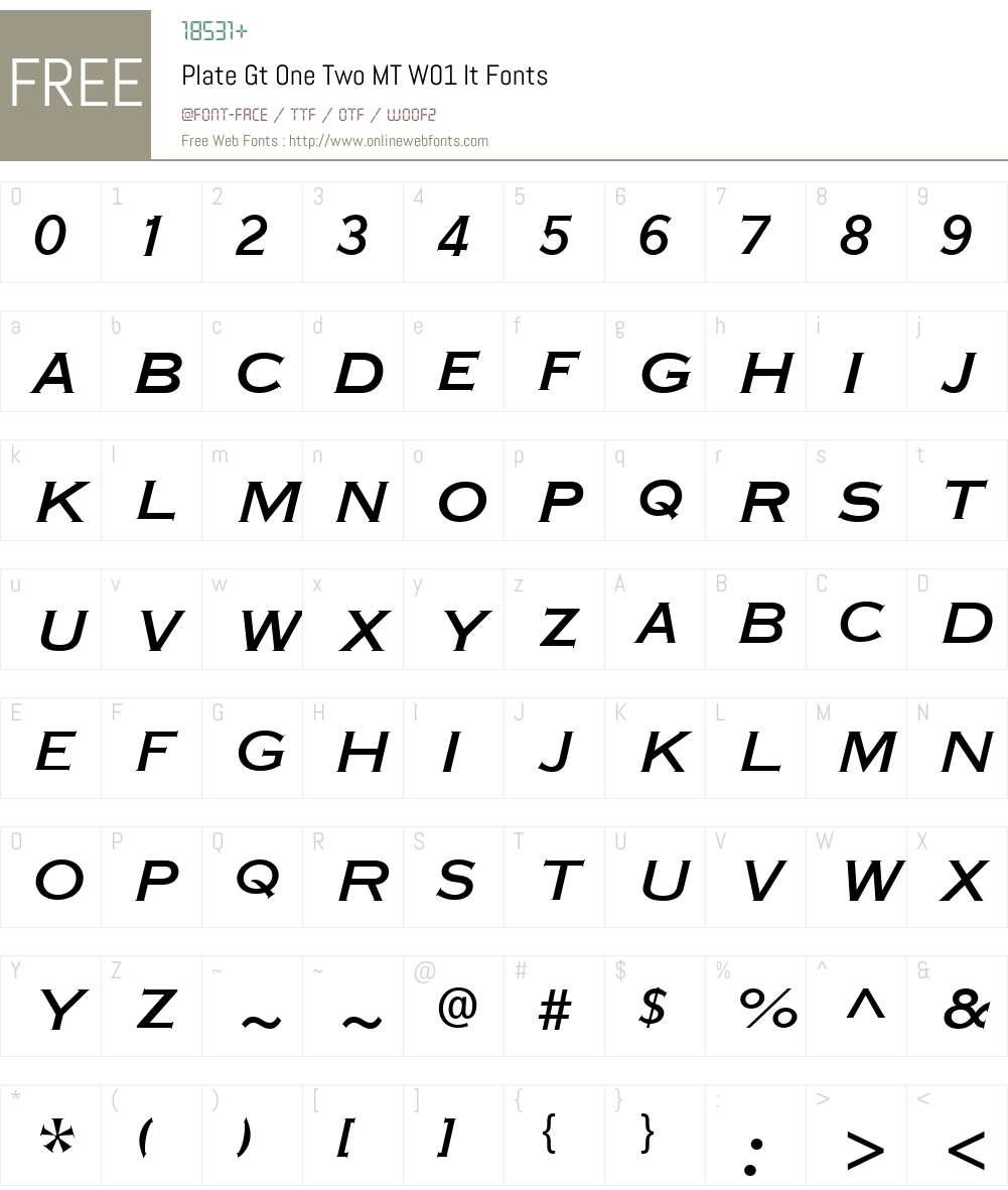 PlateGtOneTwoMTW01-It Font Screenshots