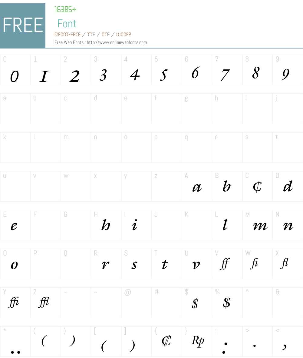 Galliard Font Screenshots