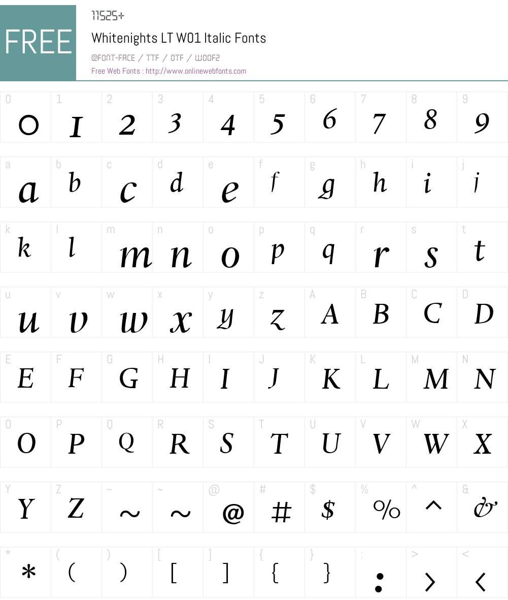 WhitenightsLTW01-Italic Font Screenshots