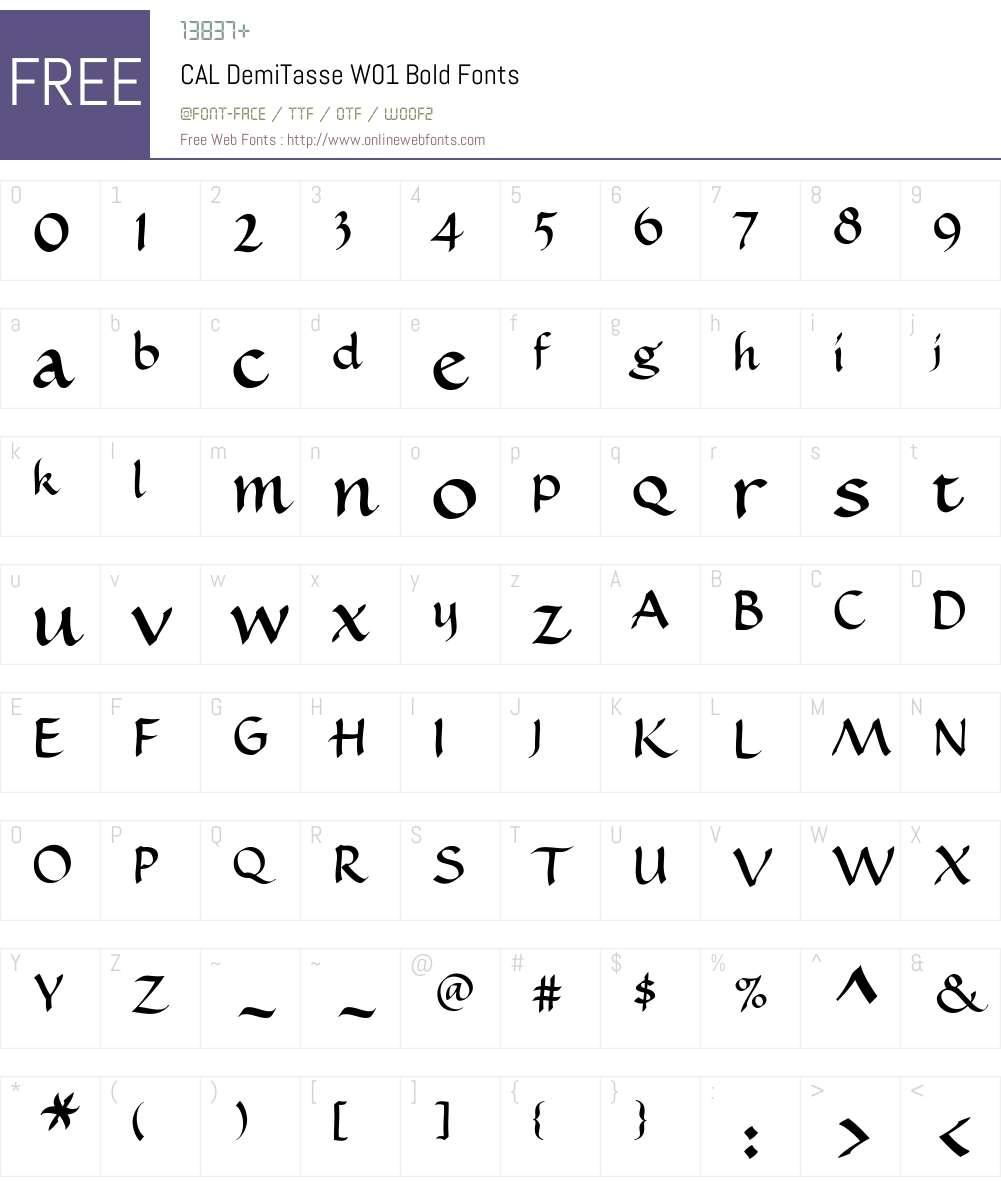 CALDemiTasseW01-Bold Font Screenshots