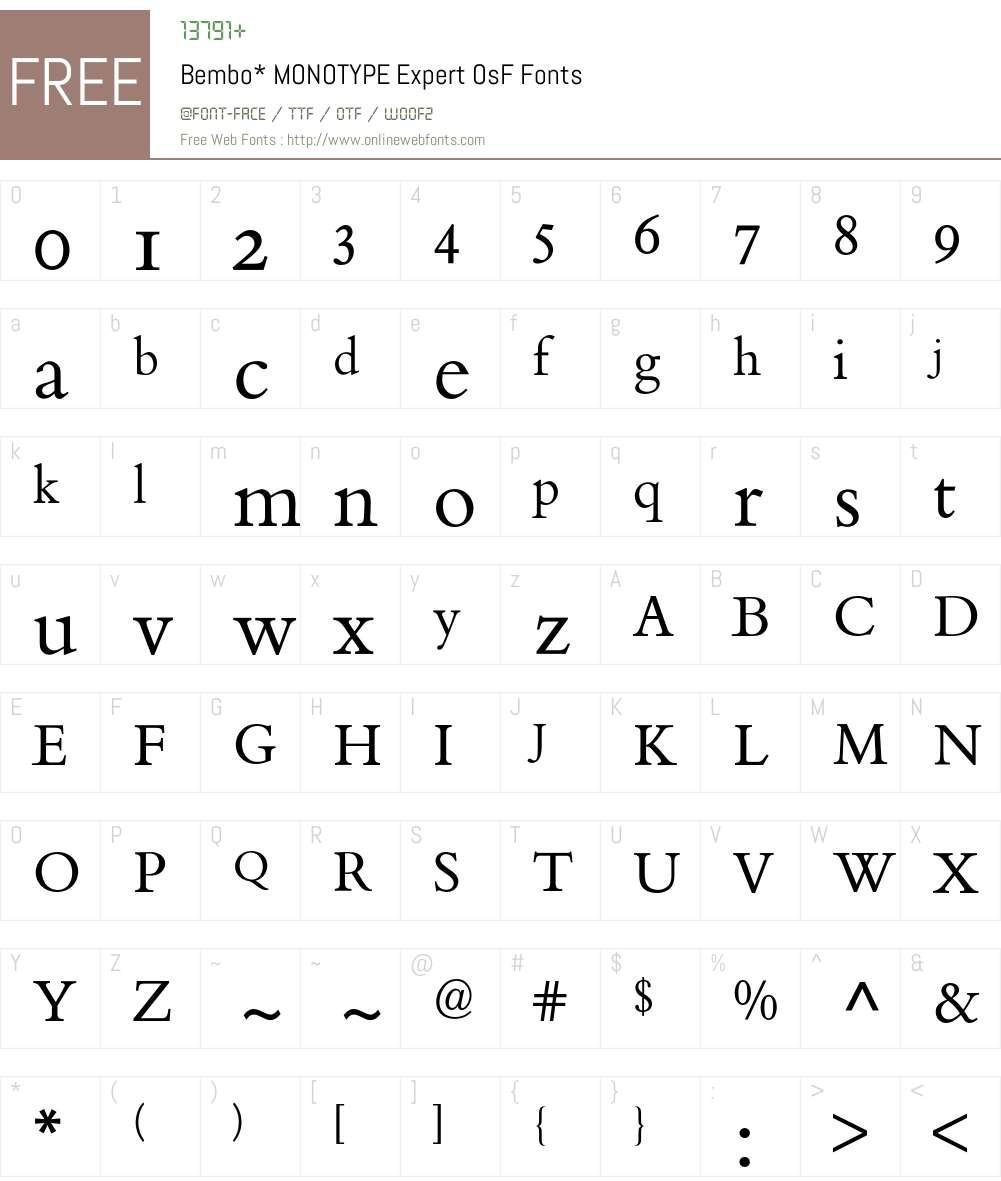Bembo Expert BQ Font Screenshots