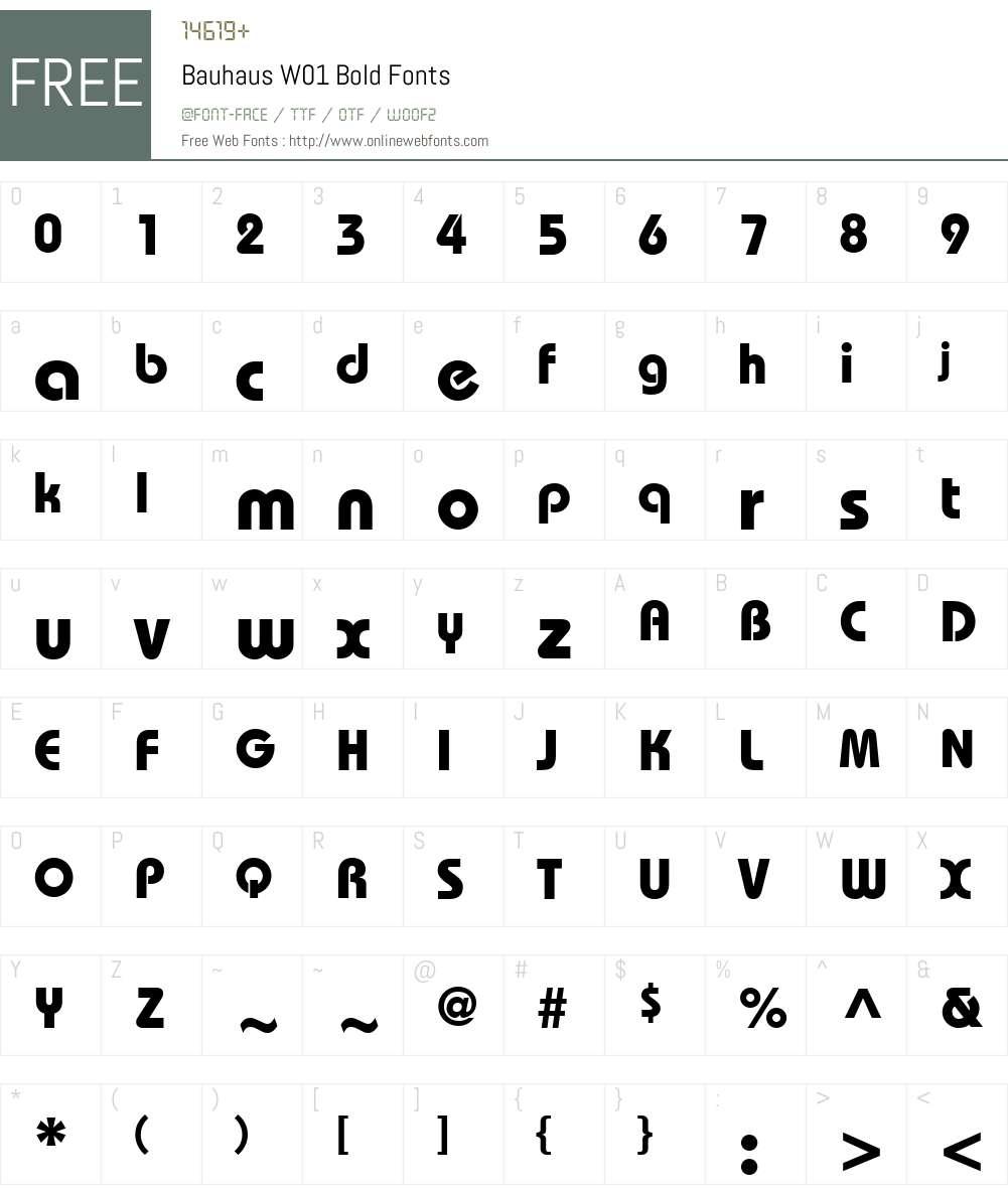 BauhausW01-Bold Font Screenshots