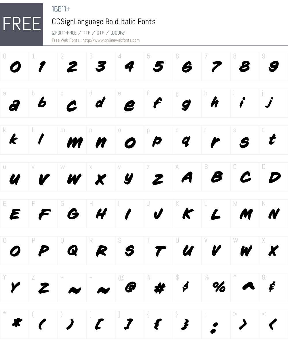 CCSignLanguage-BoldItalic Font Screenshots