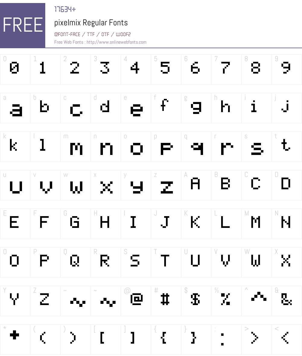 pixelmix Font Screenshots