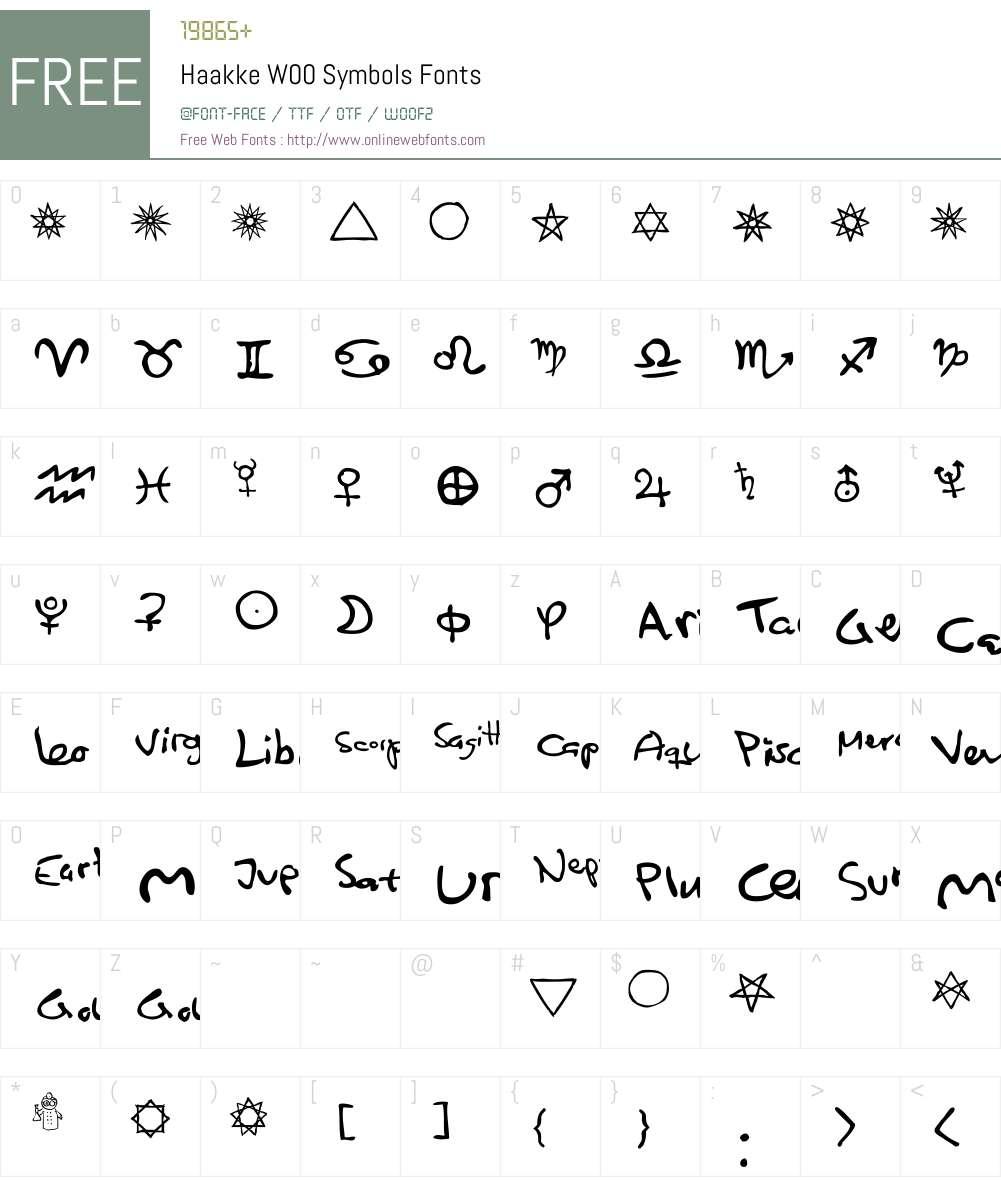 HaakkeW00-Symbols Font Screenshots
