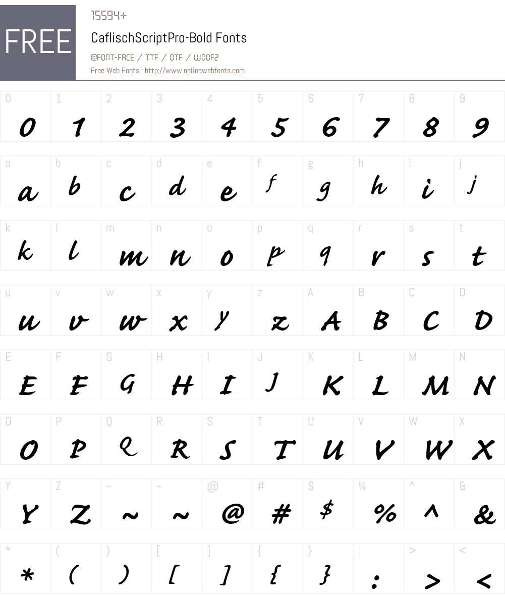 Caflisch Script Pro Regular Font Screenshots