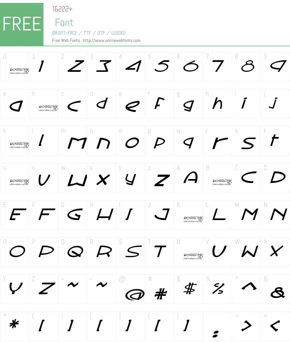 Doggstar tilt Font Screenshots