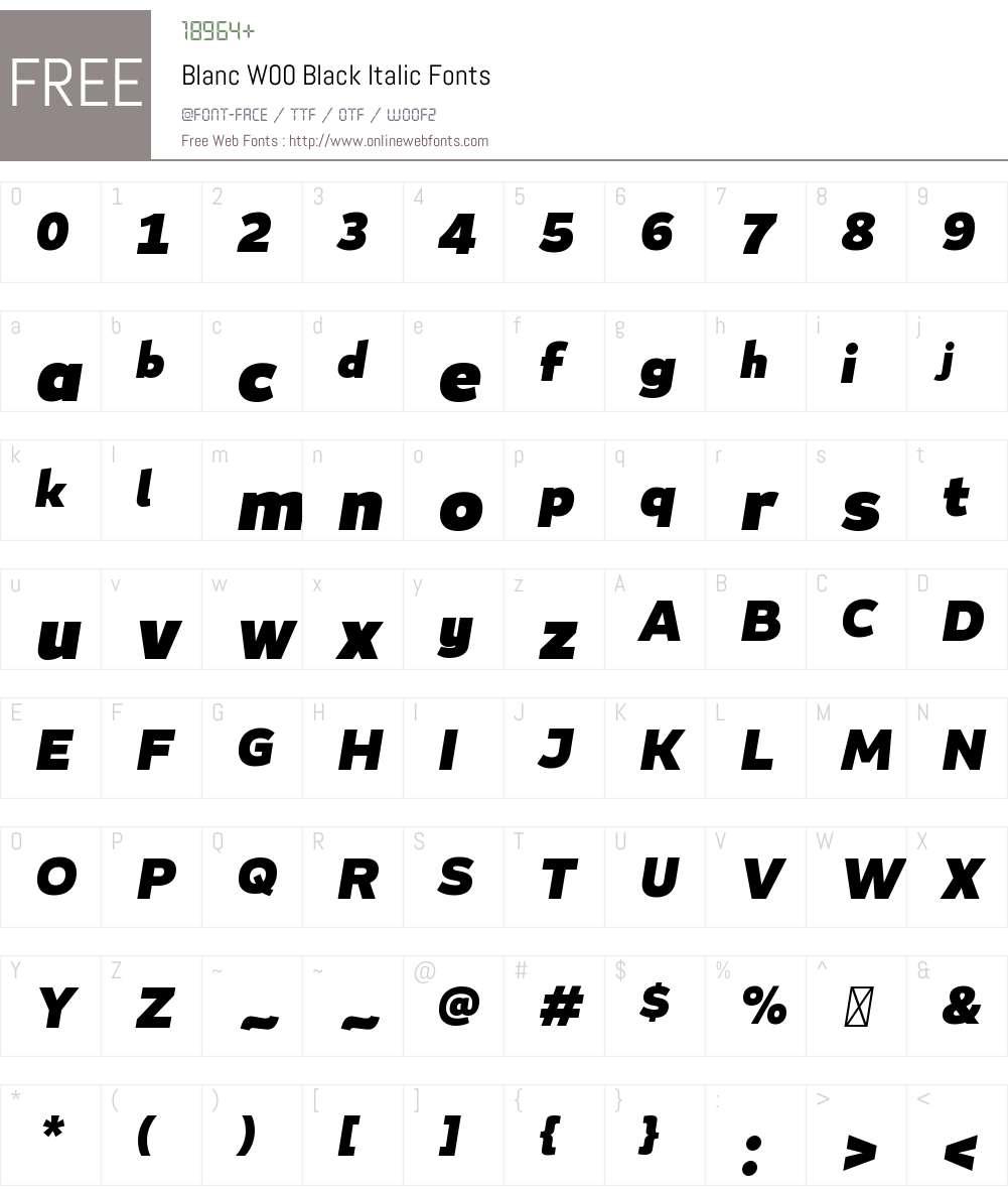 BlancW00-BlackItalic Font Screenshots