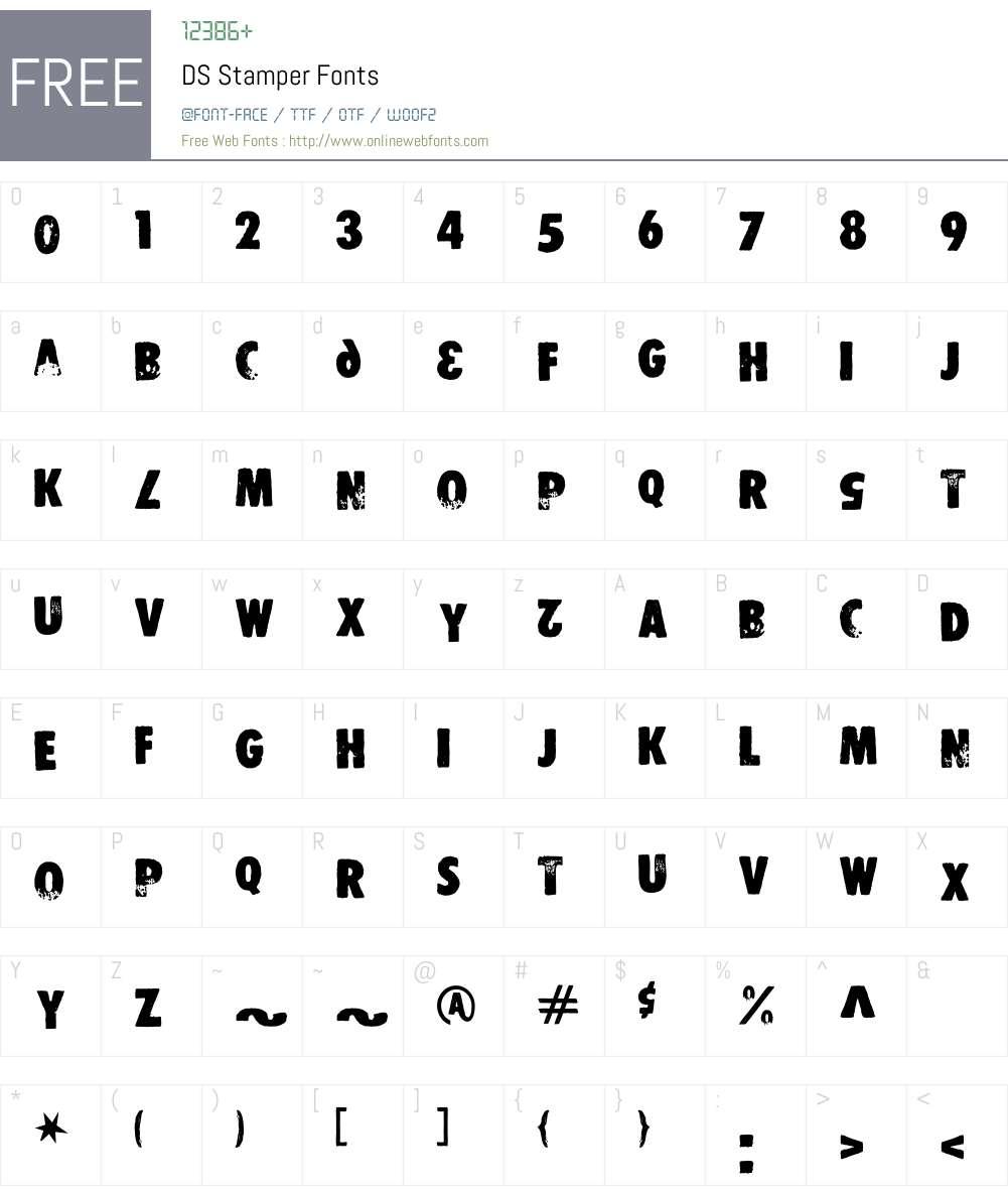 DS Stamper Font Screenshots