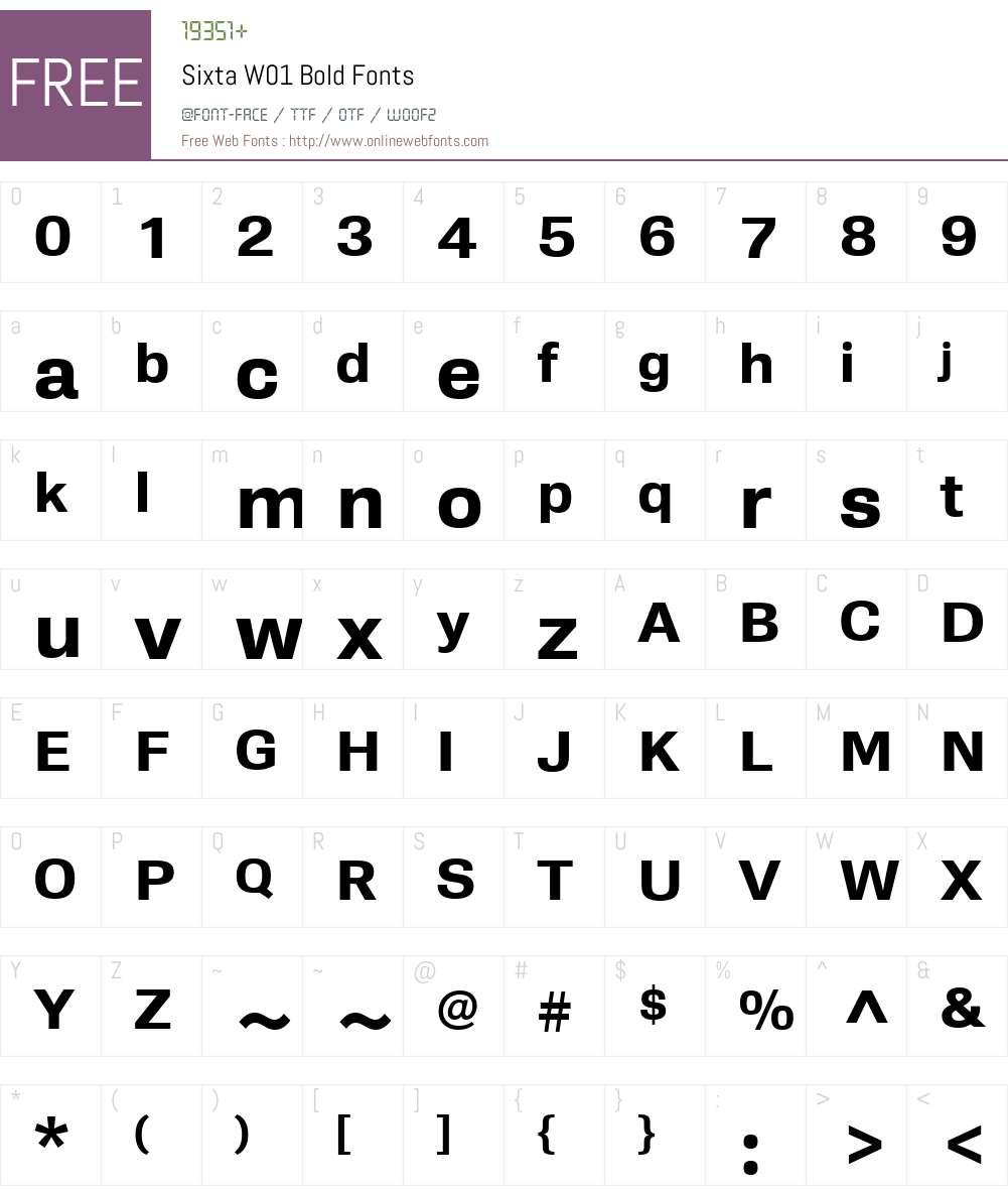 SixtaW01-Bold Font Screenshots