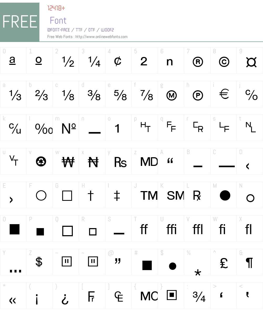 WP TypographicSymbols Font Screenshots