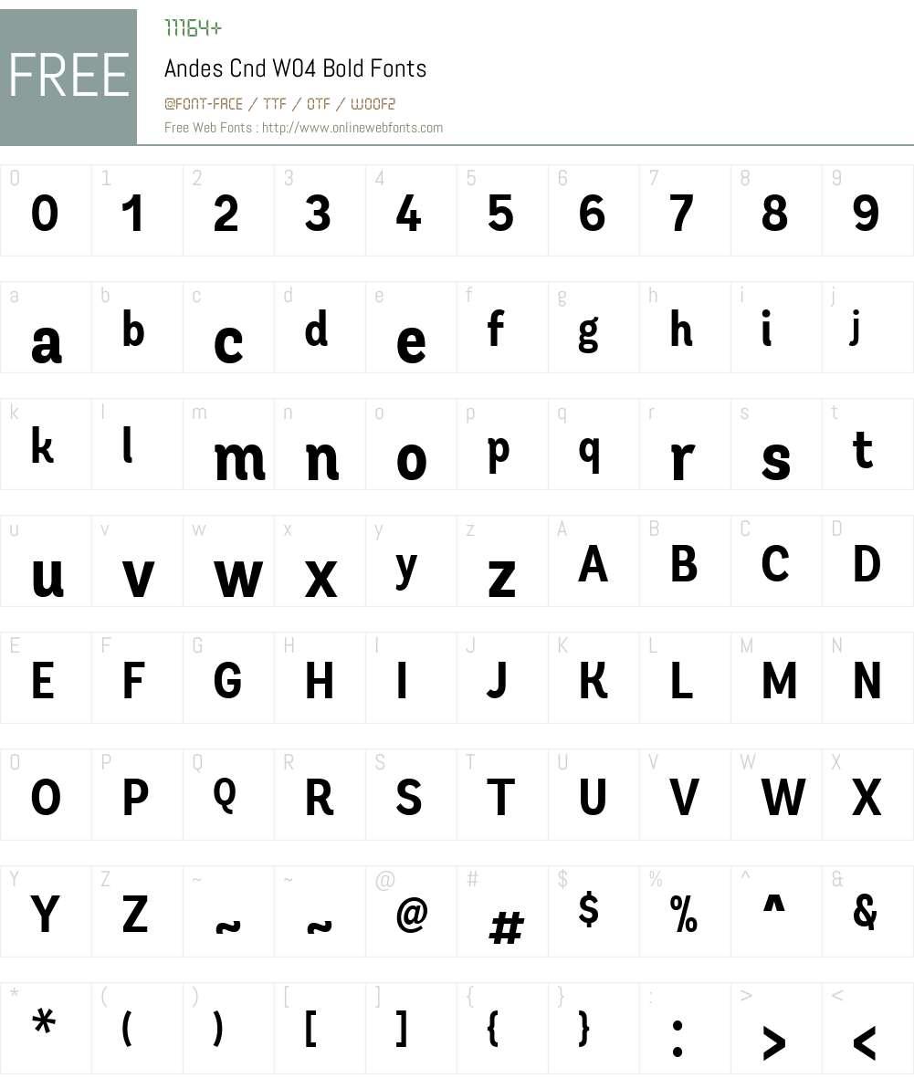 AndesCndW04-Bold Font Screenshots