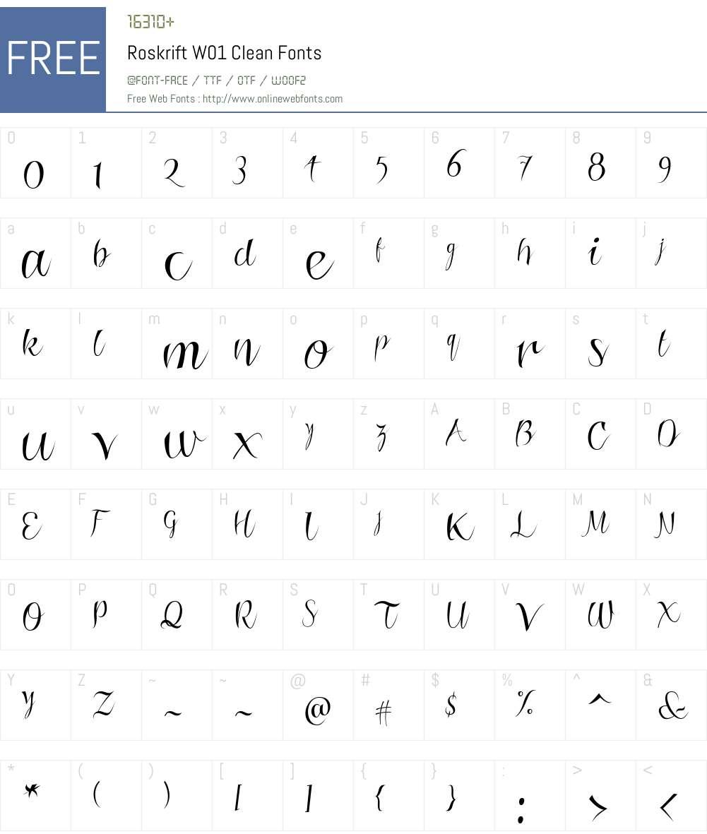 RoskriftW01-Clean Font Screenshots