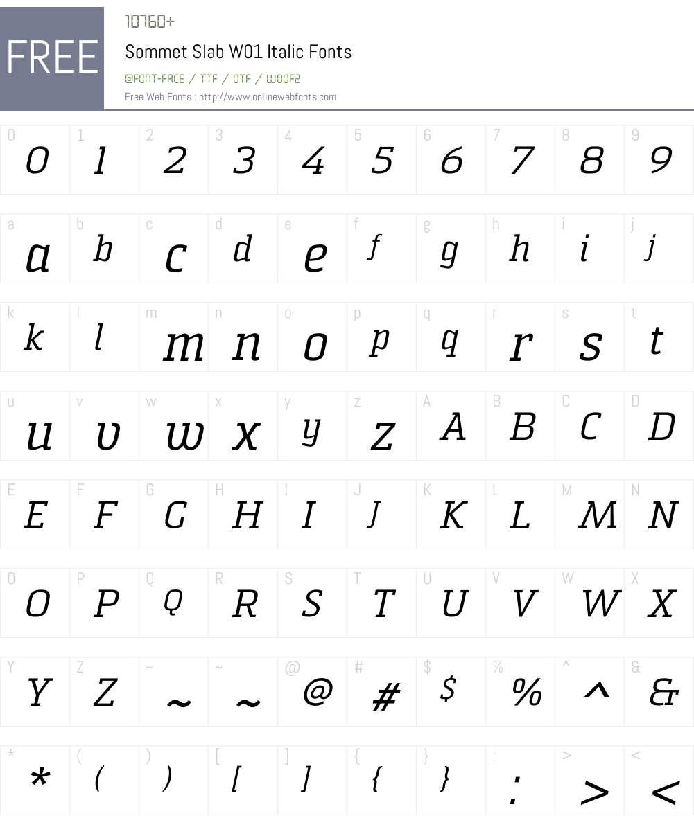 Sommet Slab Italic Font Screenshots
