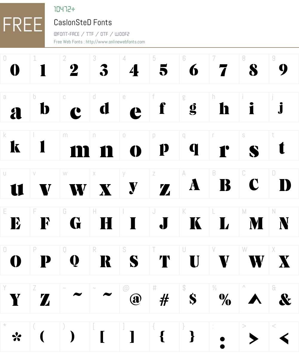 CaslonSteD Font Screenshots