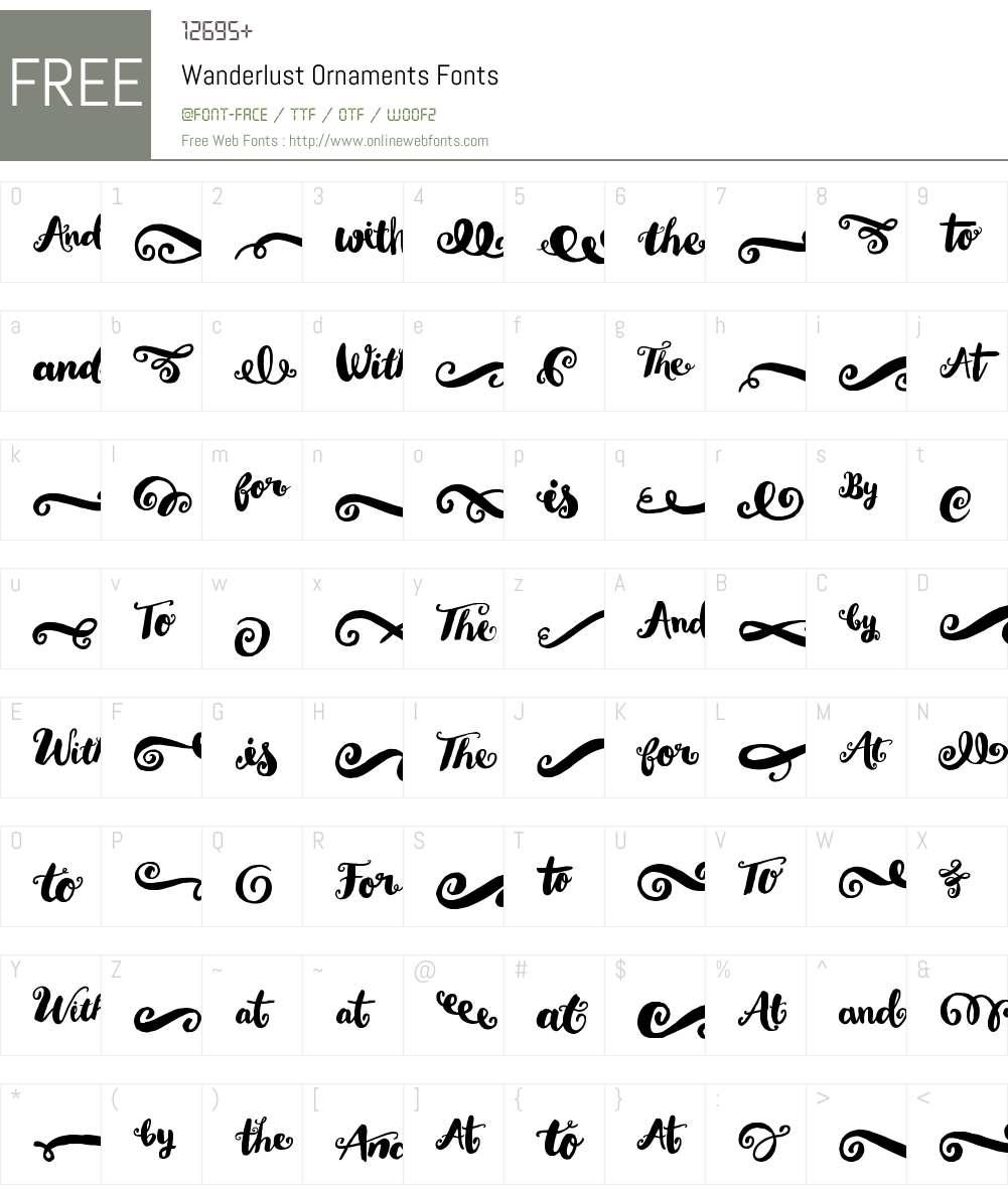 WanderlustOrnaments-Regular Font Screenshots