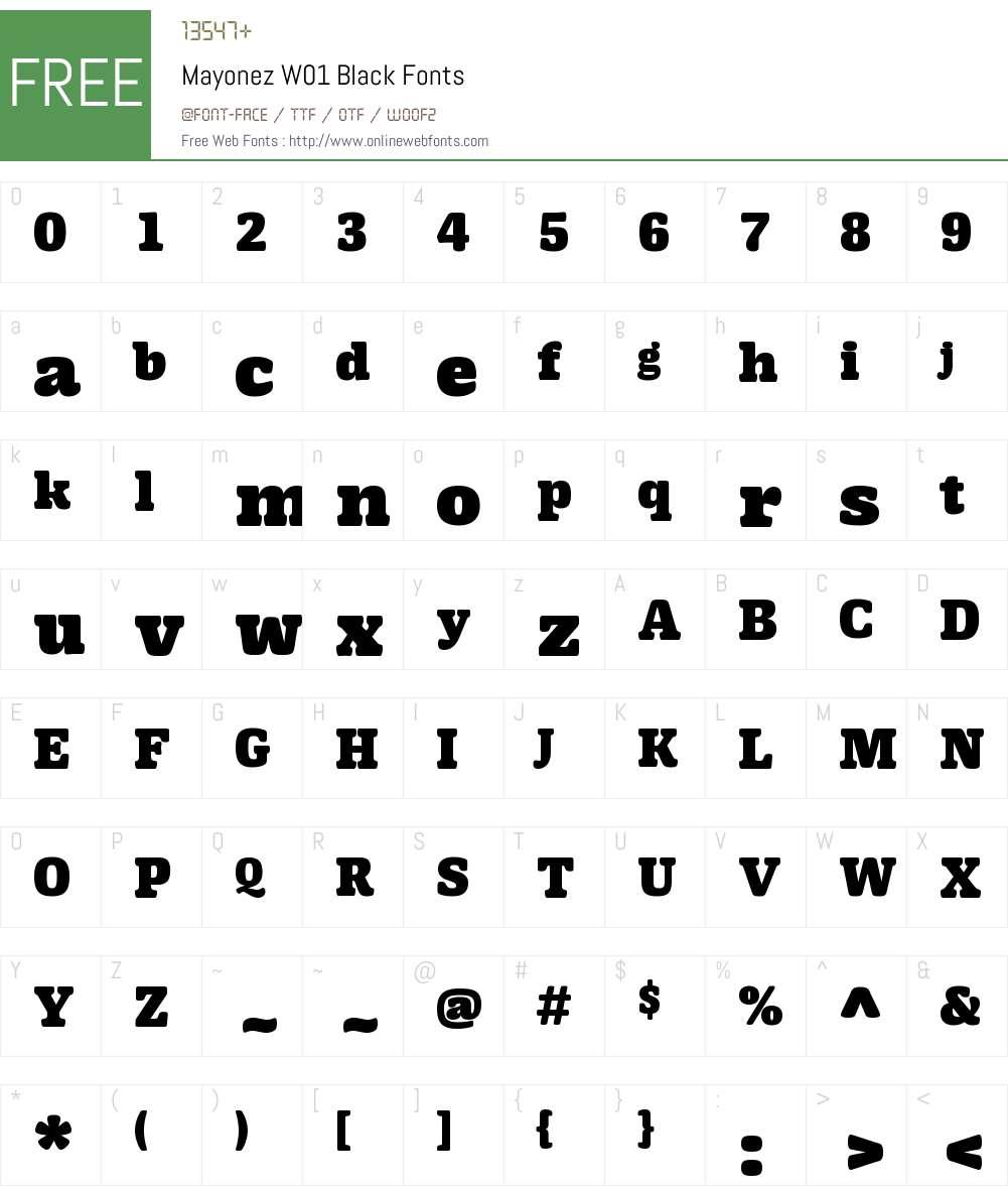 MayonezW01-Black Font Screenshots