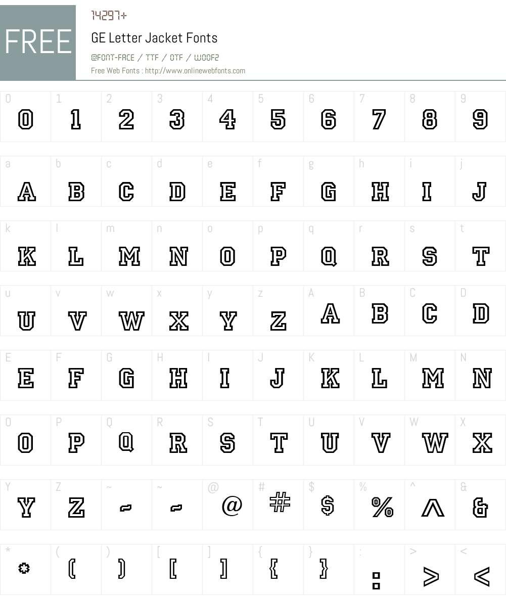 GE Letter Jacket Font Screenshots