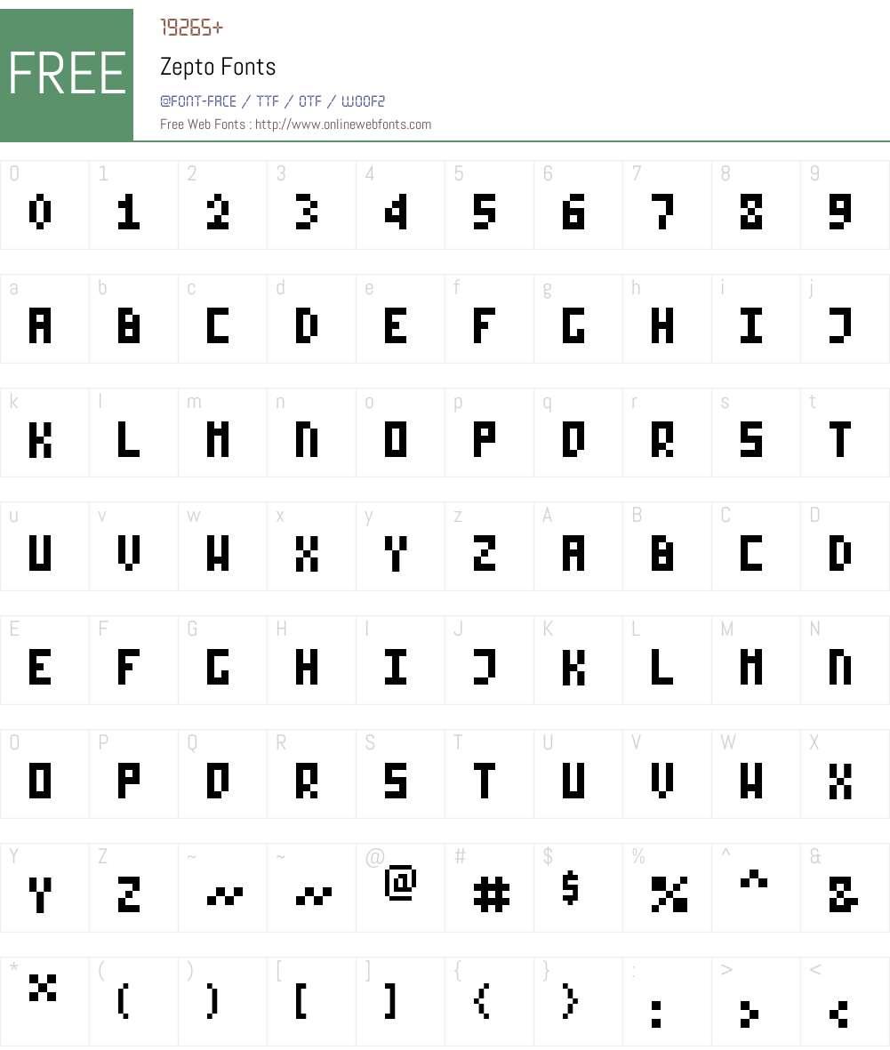Zepto Font Screenshots
