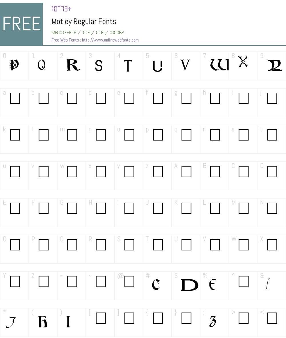 Motley Regular Font Screenshots