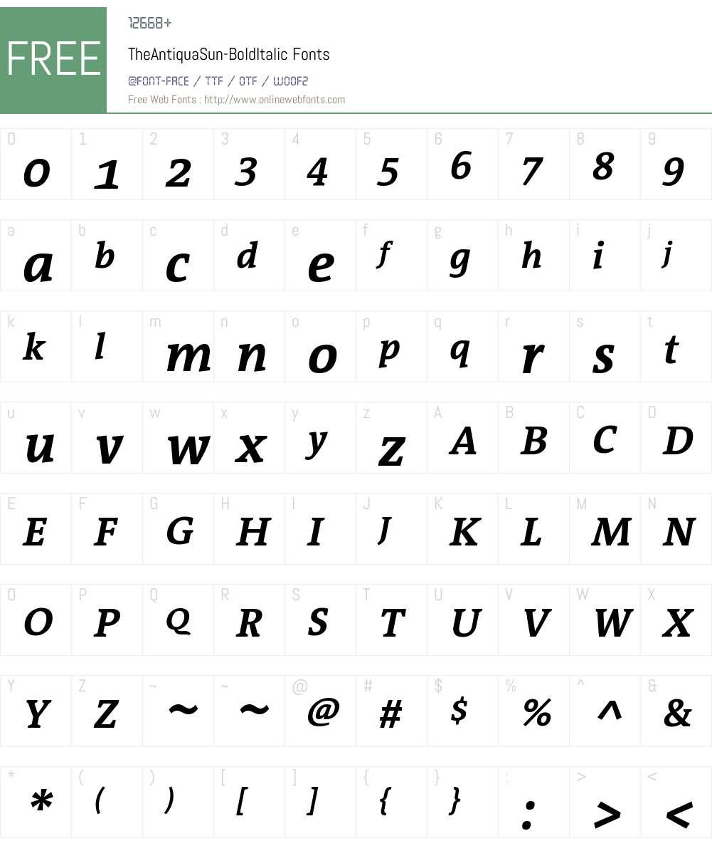 TheAntiquaSun Font Screenshots