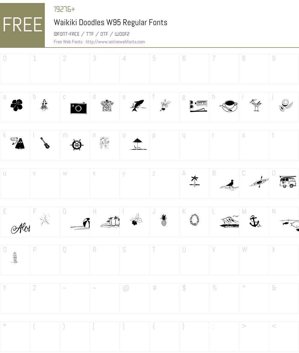 WaikikiDoodlesW95-Regular Font Screenshots