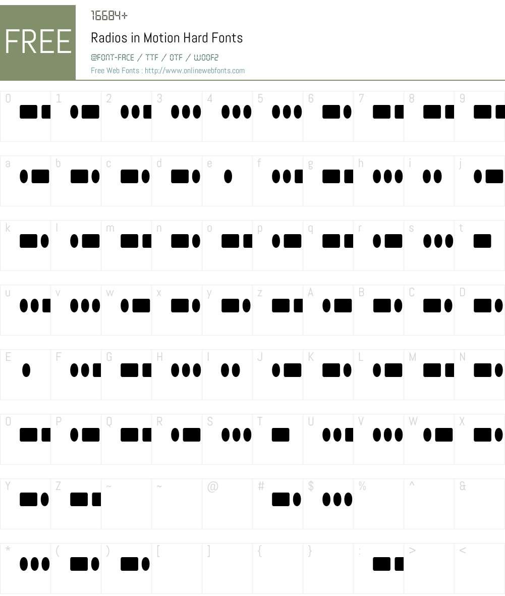 Radios in Motion Hard Font Screenshots