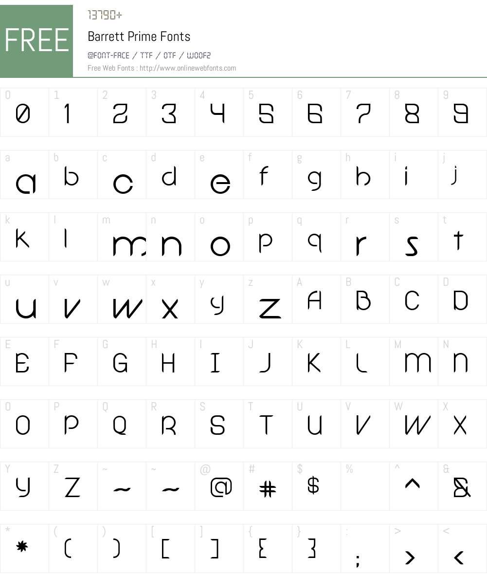 Barrett Prime Font Screenshots