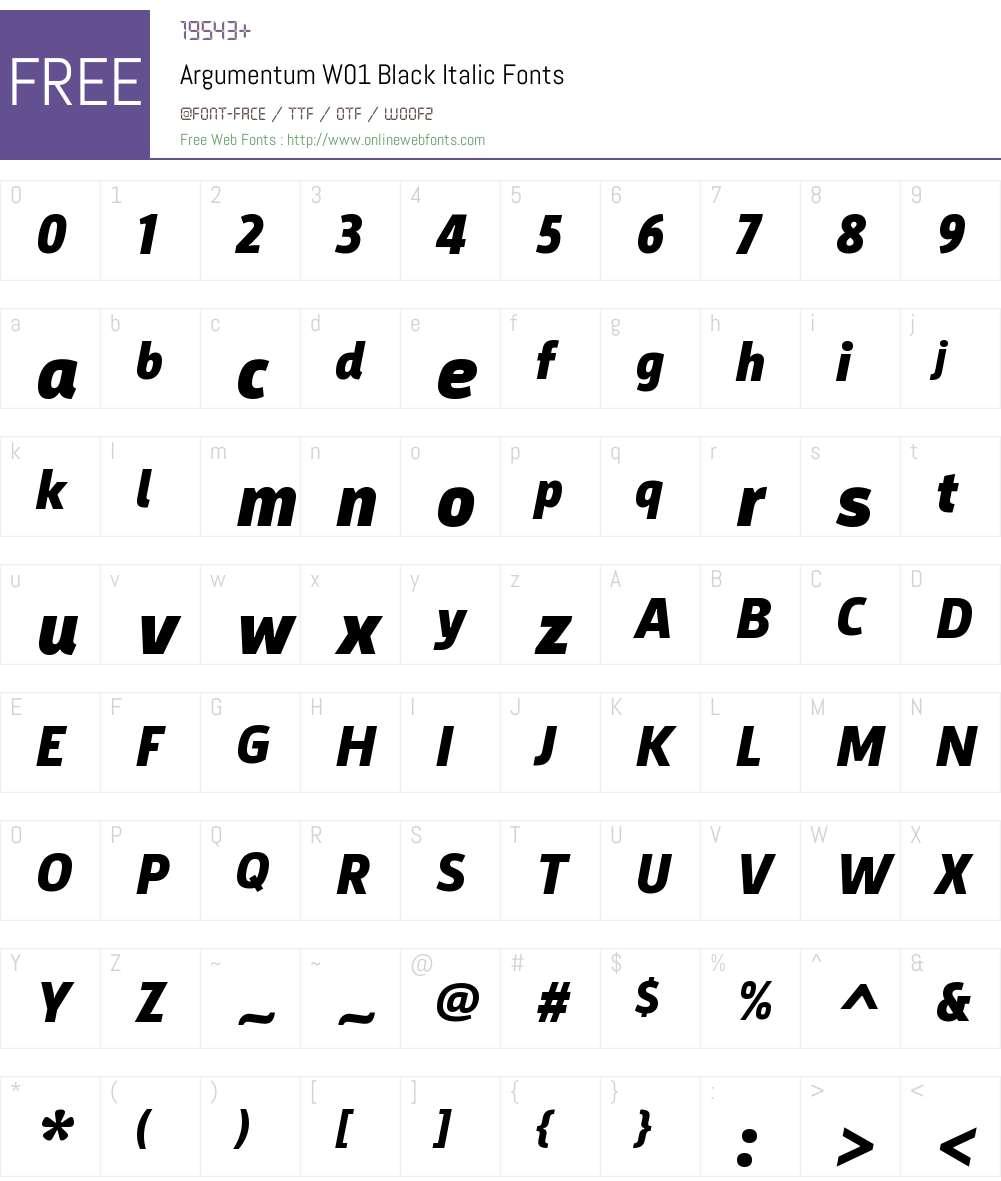 ArgumentumW01-BlackItalic Font Screenshots