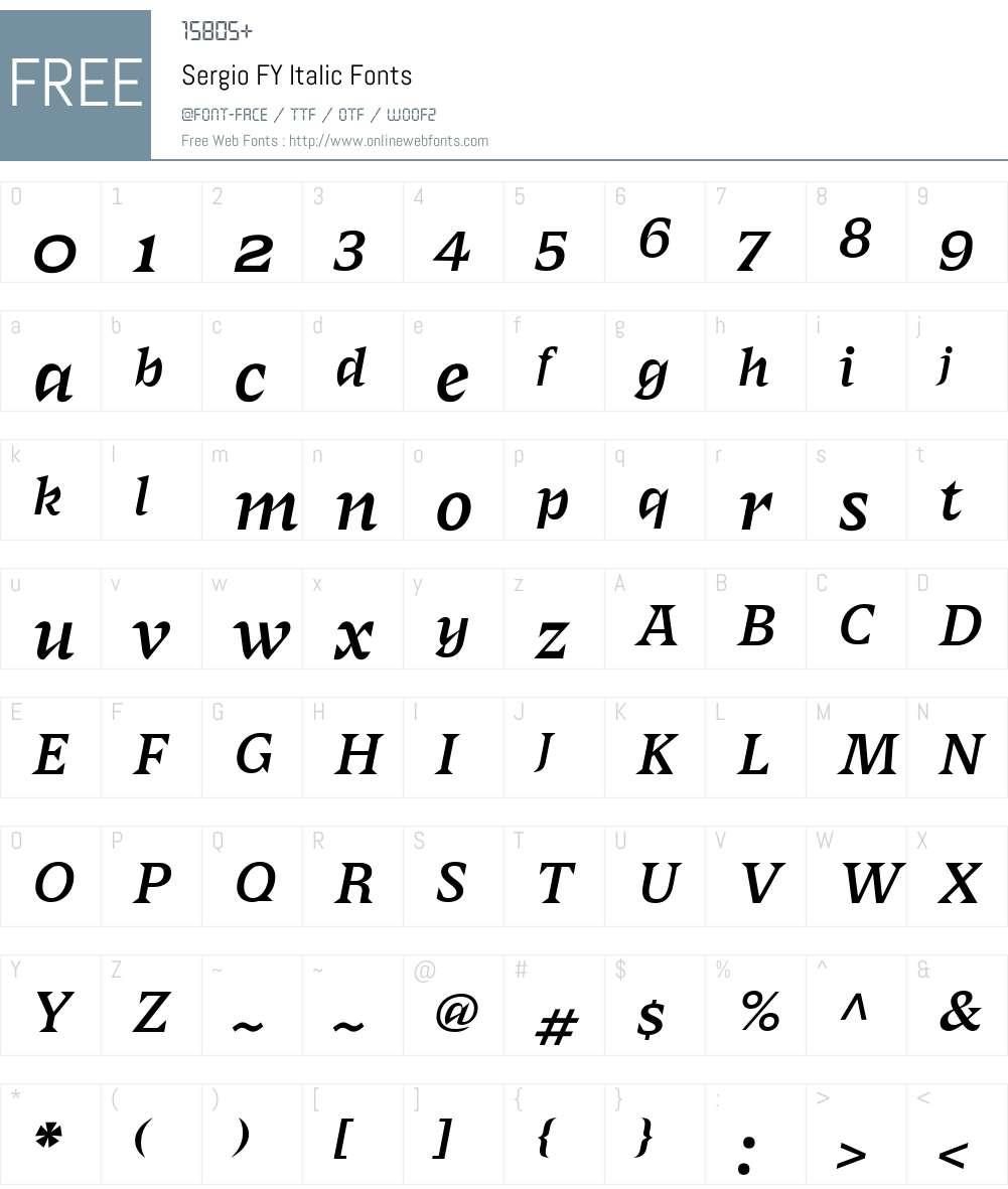 SergioFY-Italic Font Screenshots