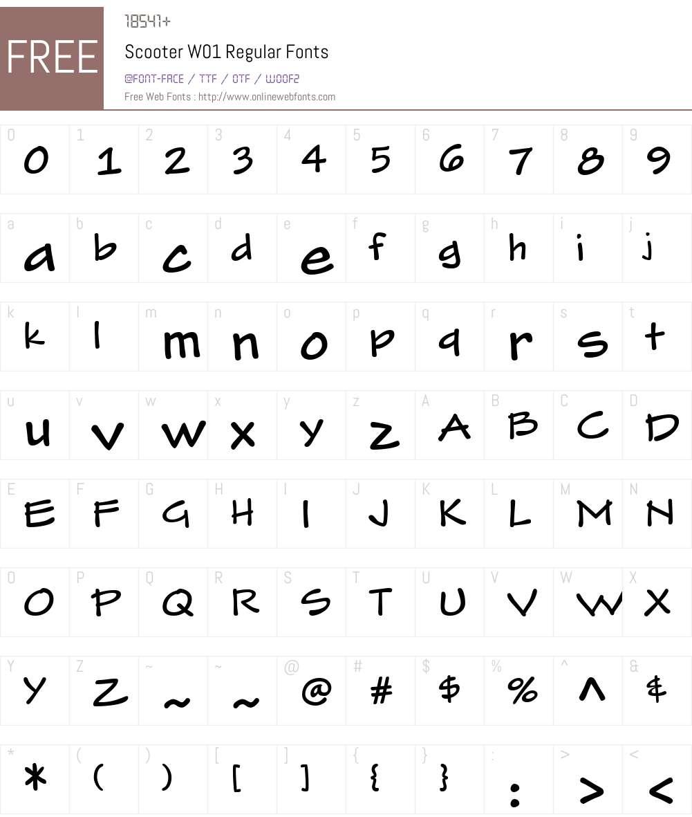 ScooterW01-Regular Font Screenshots