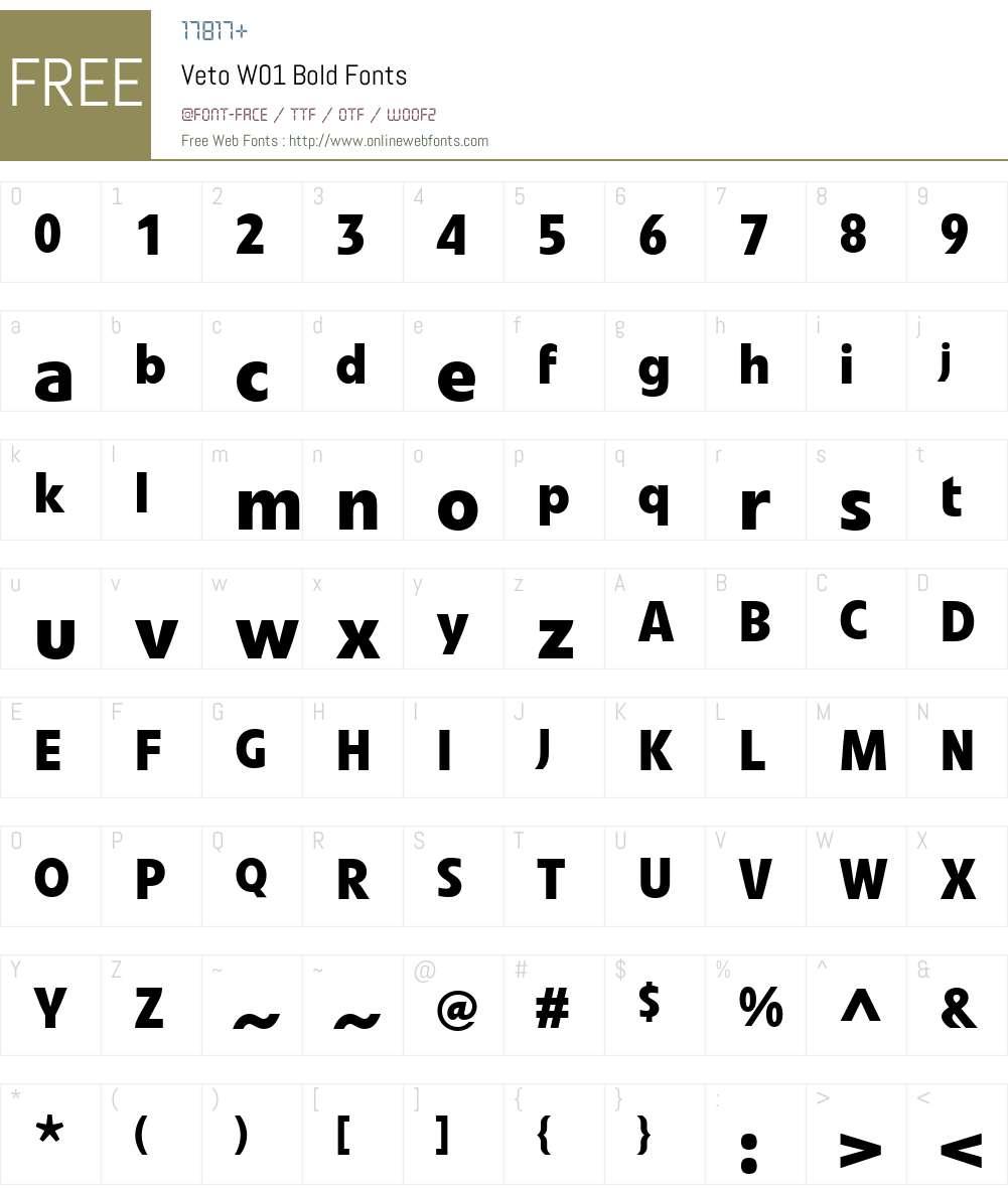 VetoW01-Bold Font Screenshots