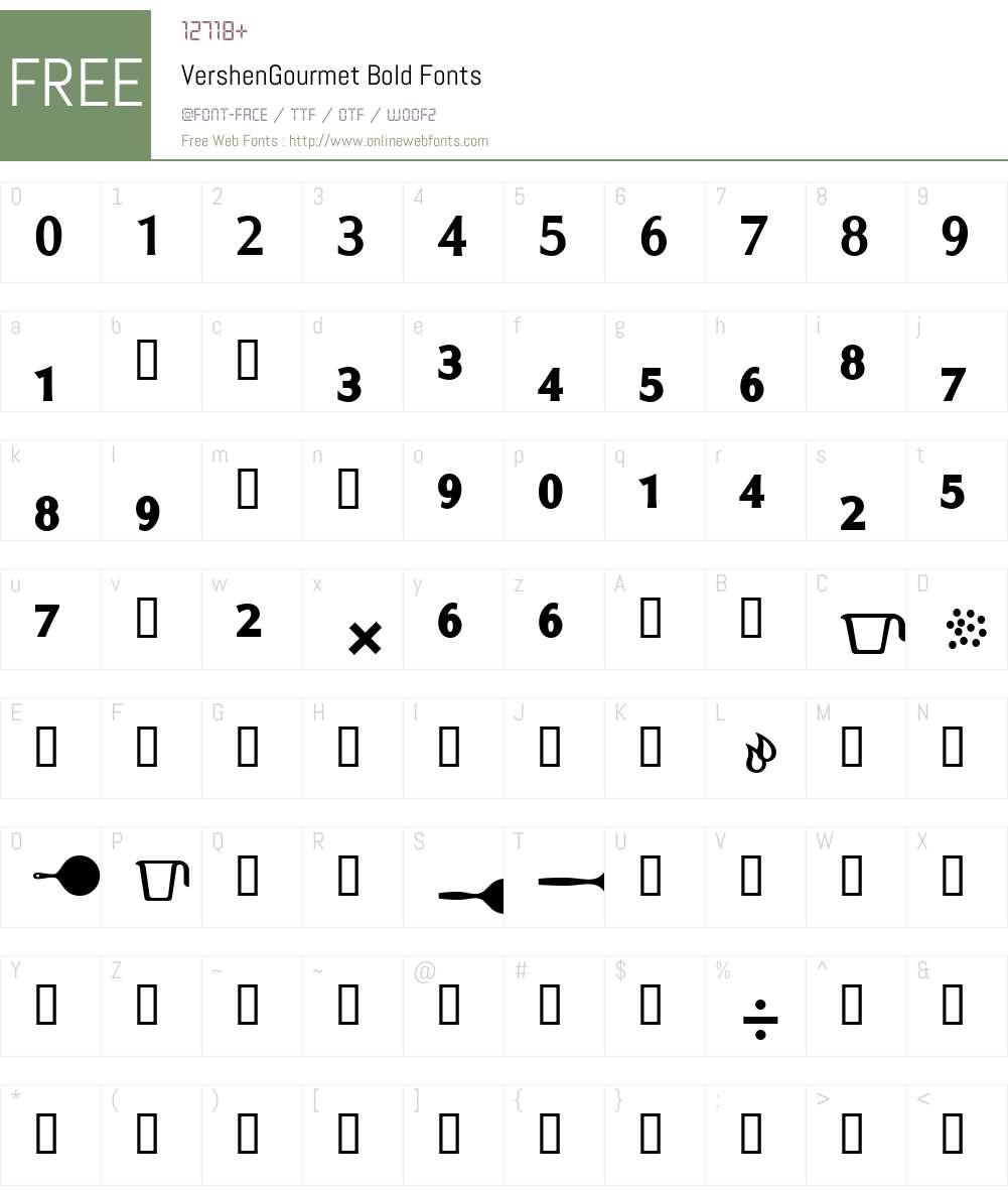 VershenGourmetBold Font Screenshots
