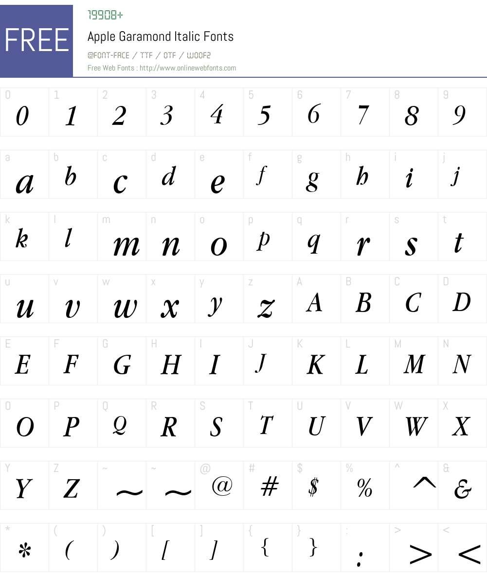 Apple Garamond Font Screenshots