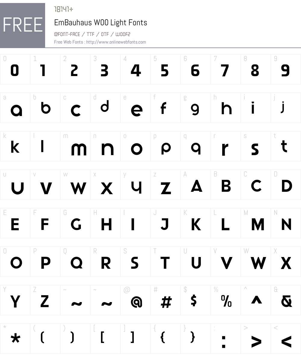 EmBauhausW00-Light Font Screenshots
