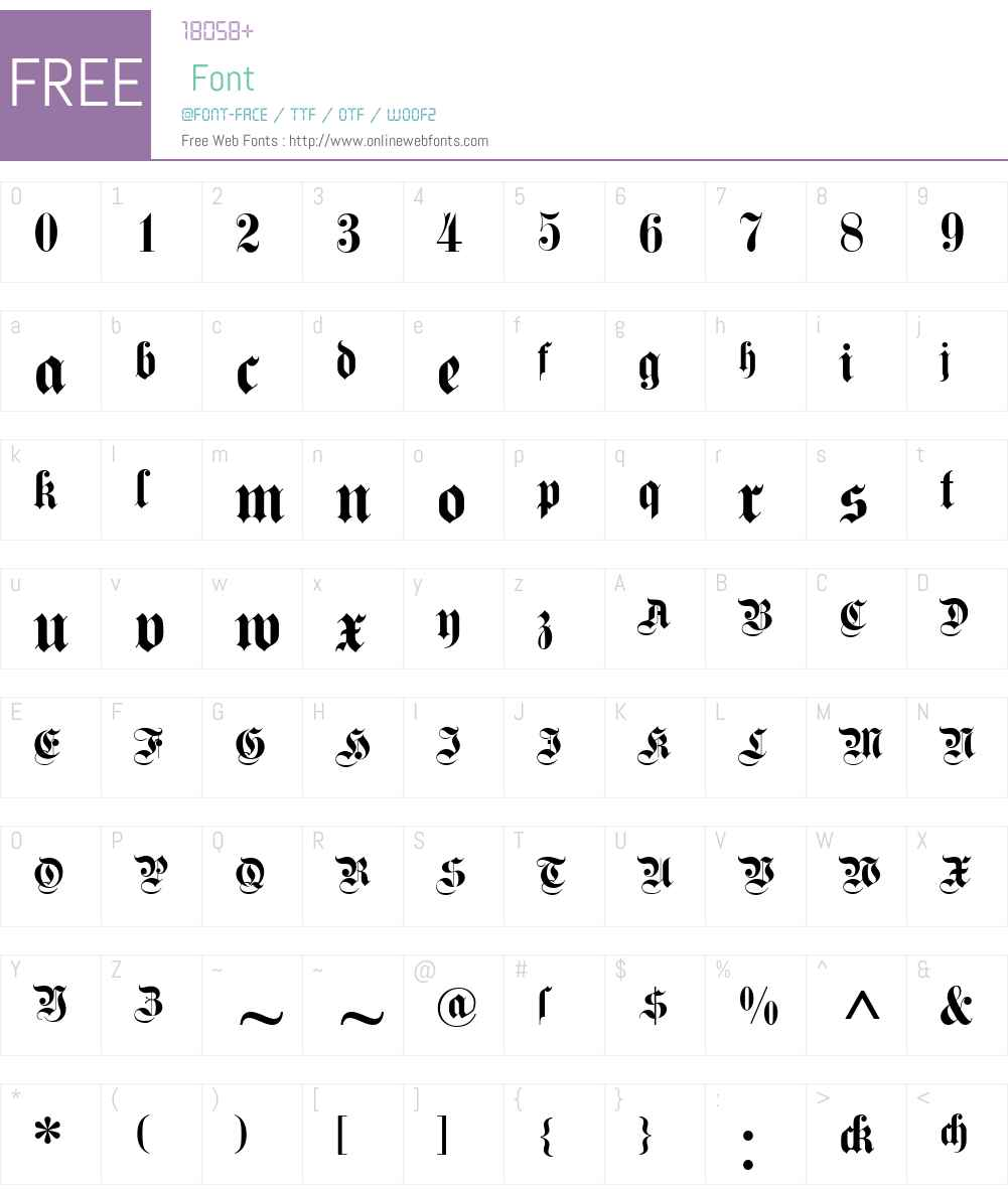 DS Fette Kanzlei Font Screenshots