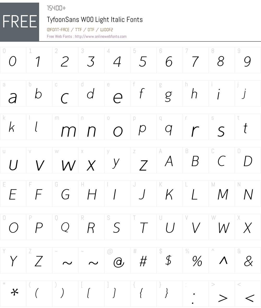 TyfoonSansW00-LightItalic Font Screenshots