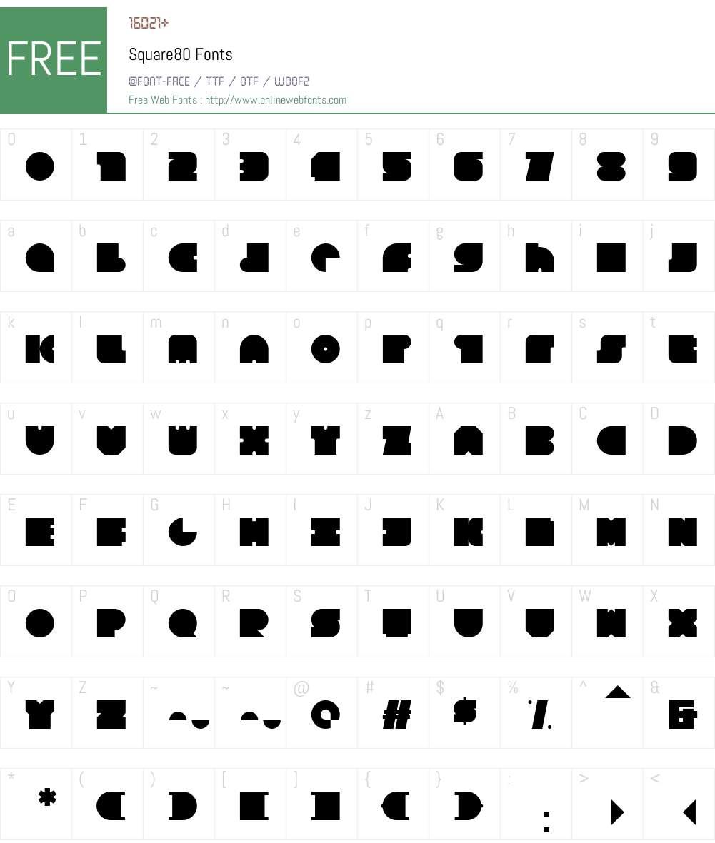 Square80 Font Screenshots
