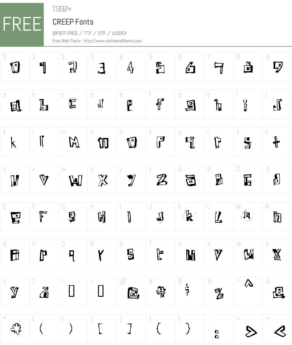 CREEP Font Screenshots