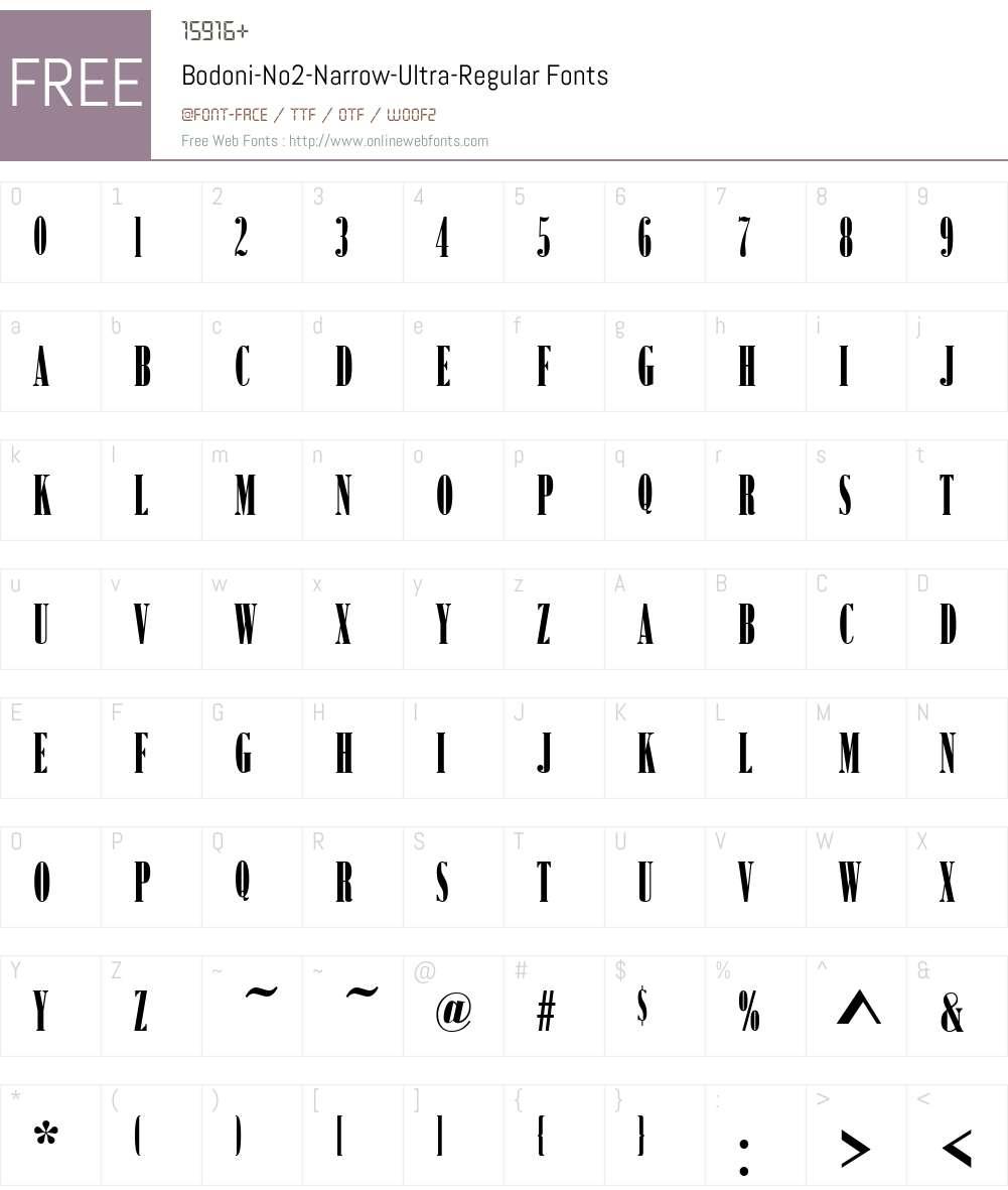 Bodoni-No2-Narrow-Ultra Font Screenshots