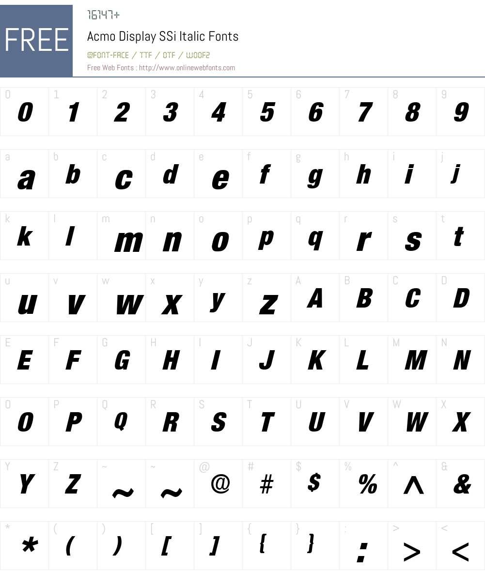 Acmo Display SSi Font Screenshots