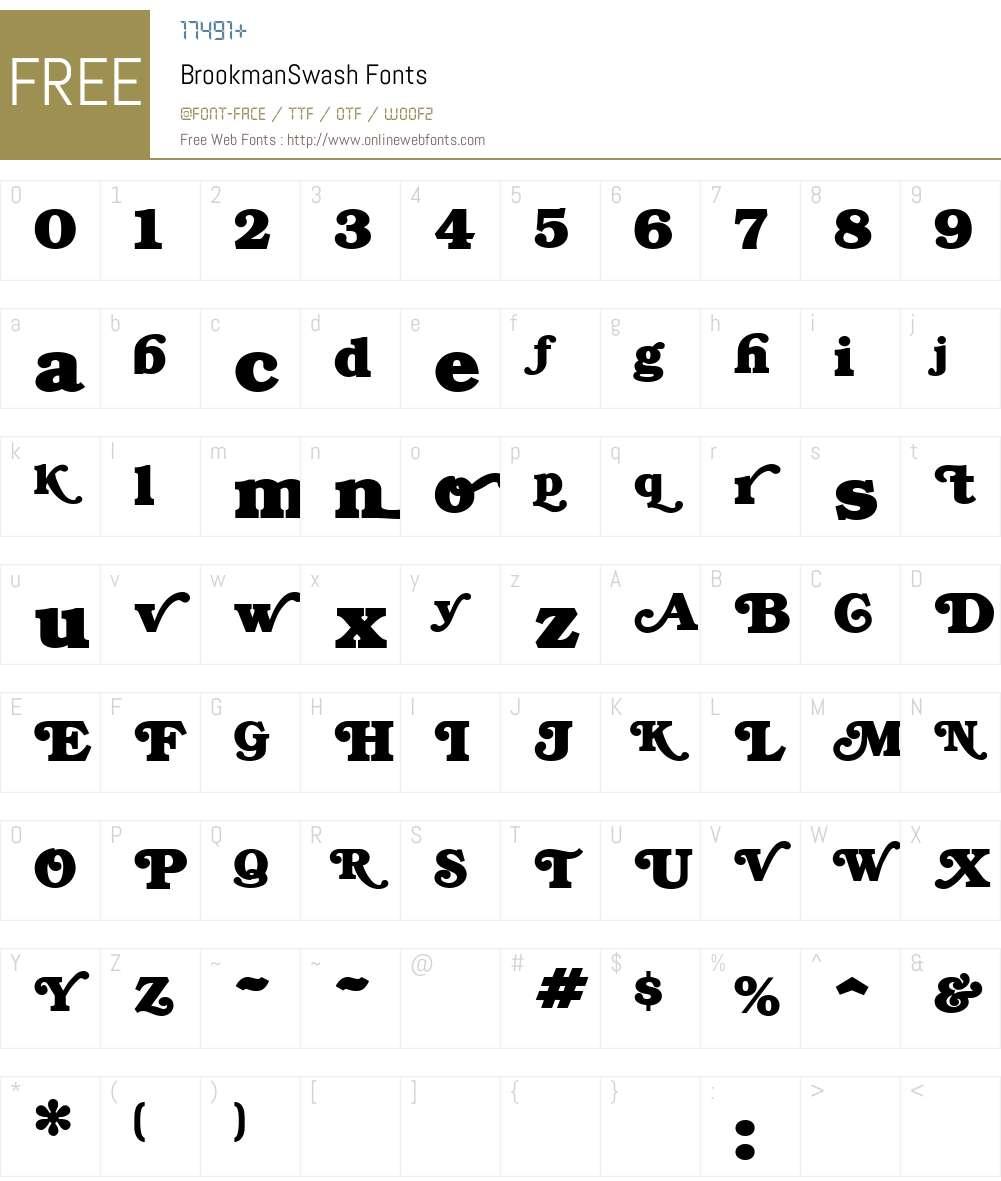 BrookmanSwash Font Screenshots