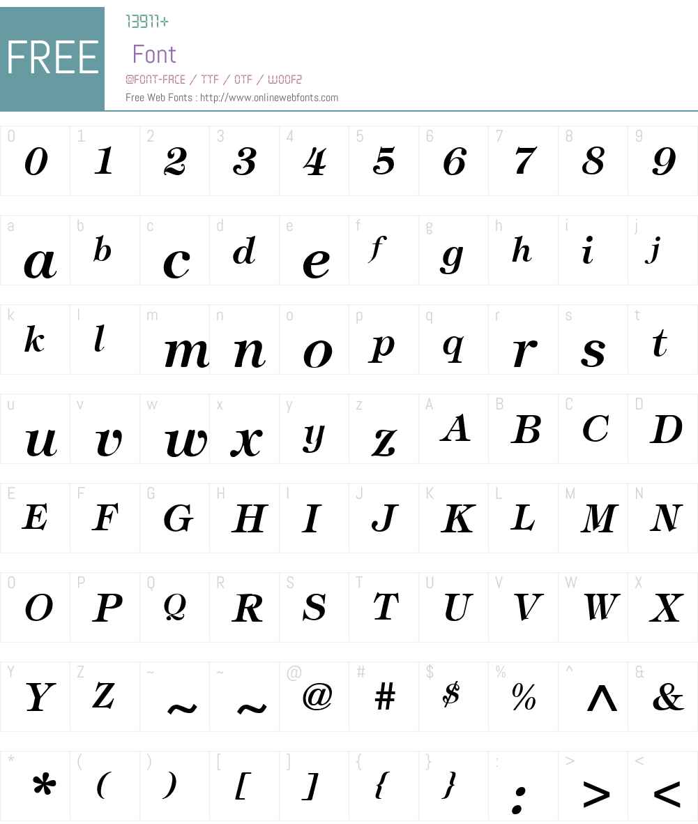 Tiffany-BoldItalic Font Screenshots