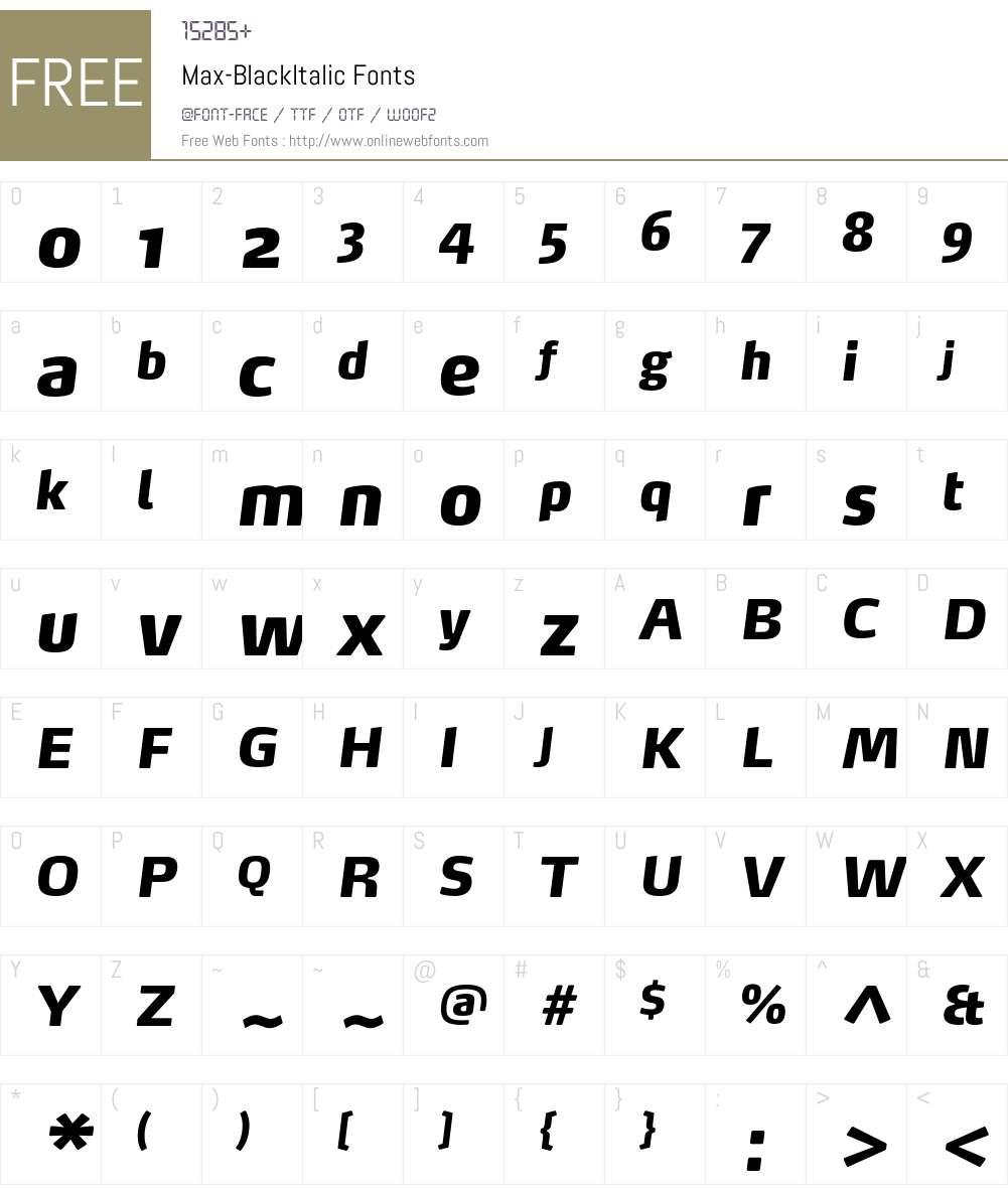 Max-BlackItalic Font Screenshots