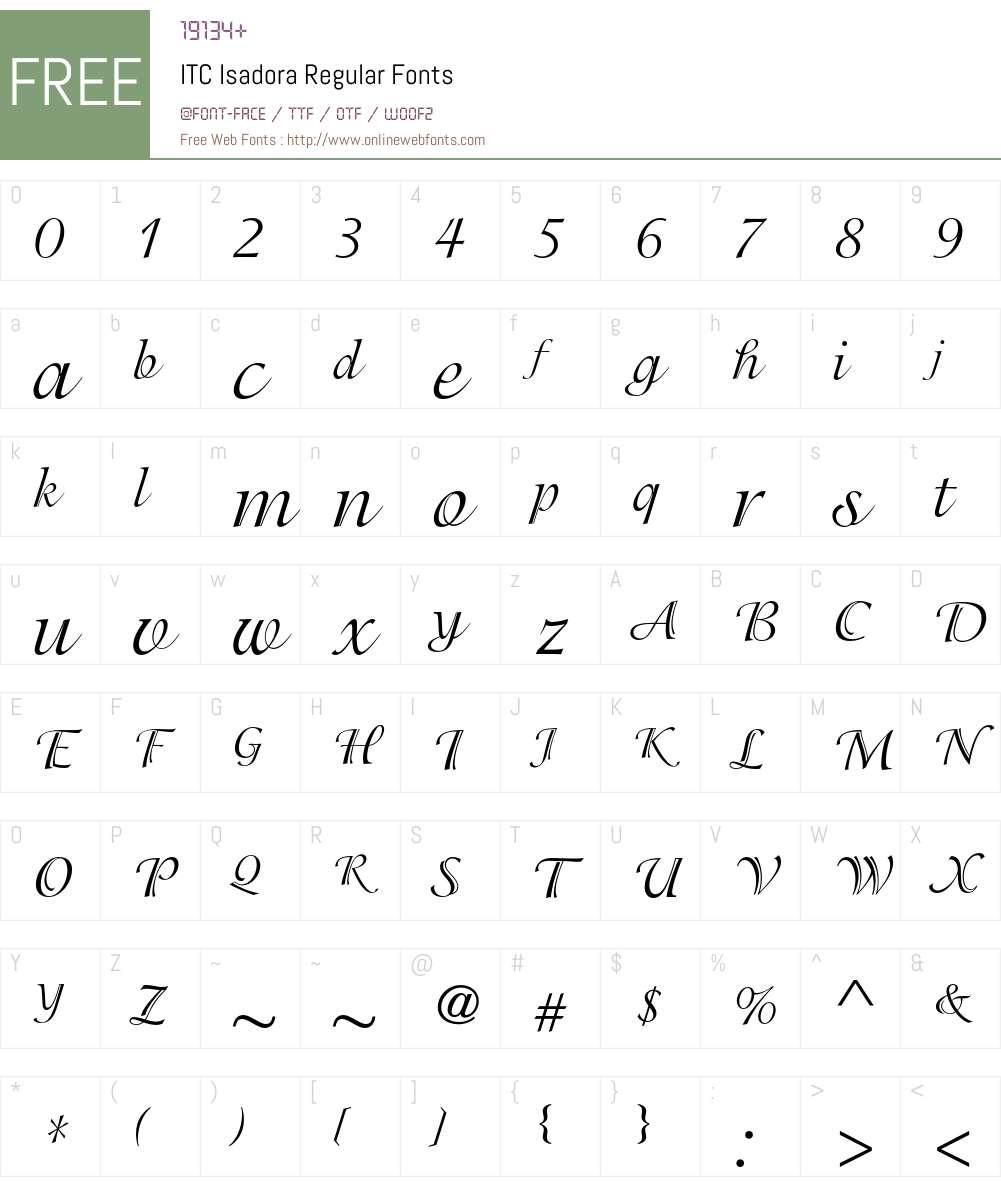 ITC Isadora Font Screenshots
