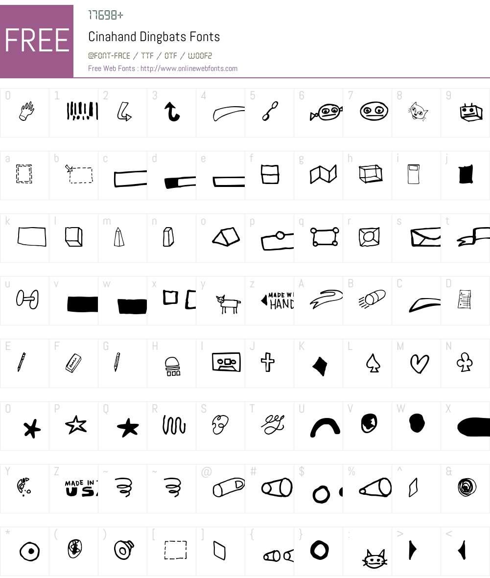 Cinahand Font Screenshots