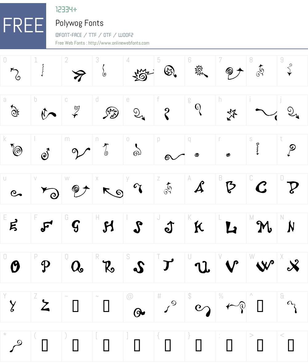 Polywog Font Screenshots