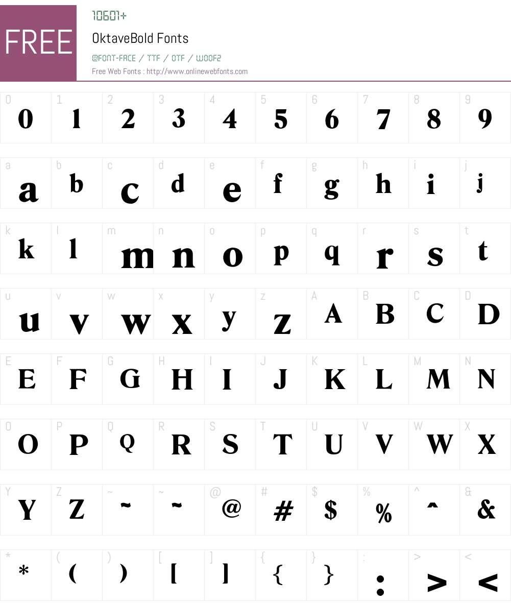 OktaveBold Font Screenshots