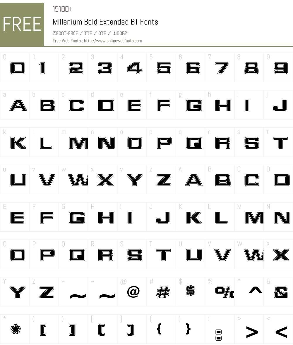 Millenium BdEx BT Font Screenshots