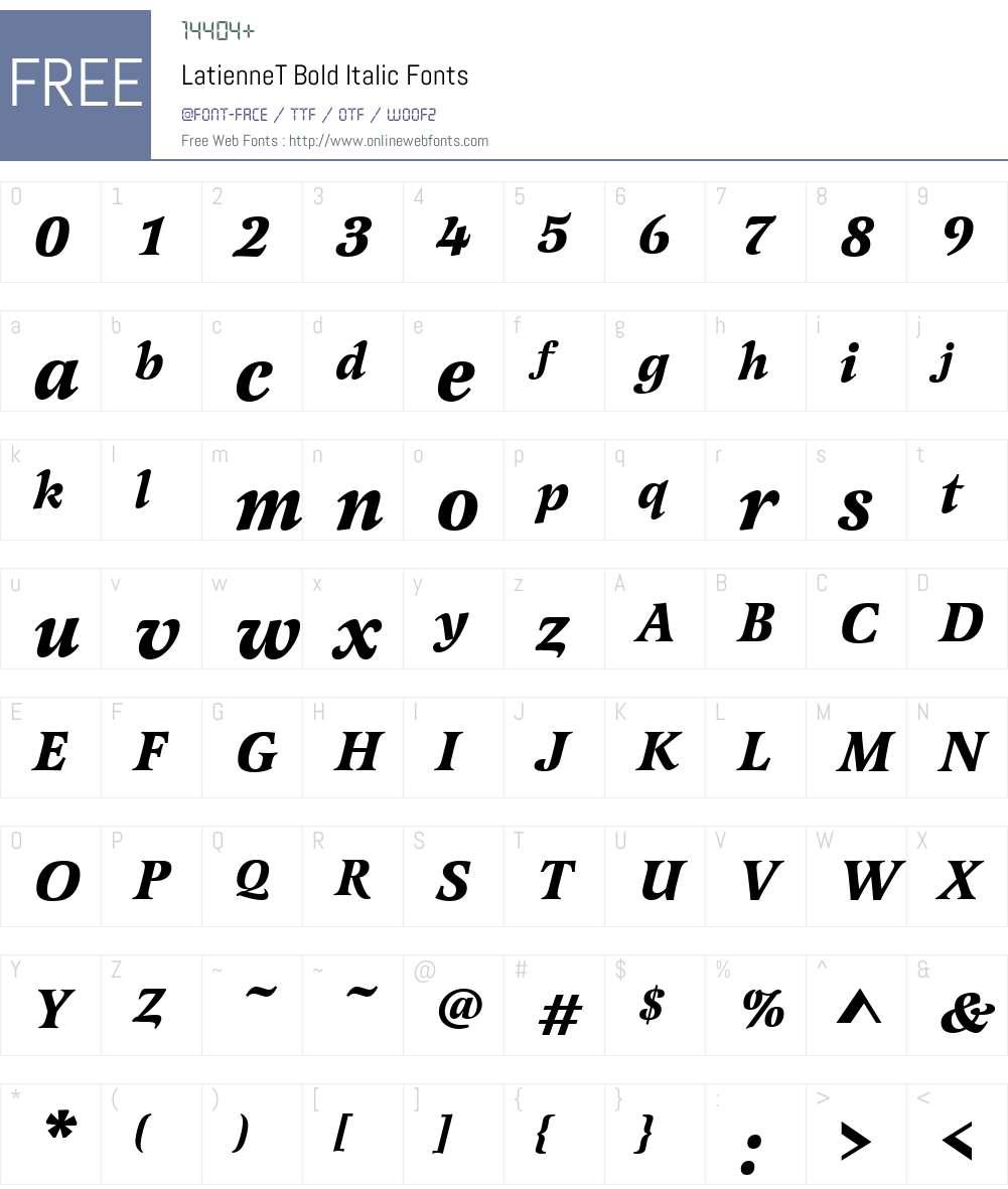 LatienneT Font Screenshots